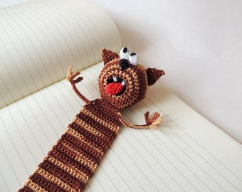 Handmade crochet bookmark cat Crochet Cat Cute bookmark cat Funny gift idea Knitted bookmark