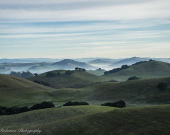 Country Hills Sunrise Wall Art Print -- Fine Art landscape photography, Foggy, Sunrise, California, Home Decor, HeatherRobersonPhoto