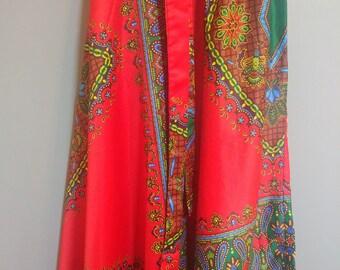 Vintage African Dashiki Wrap Skirt // Vibrant Boho Maxi Skirt