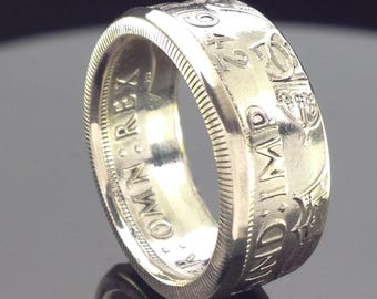 British Silver Half Crown Coin Ring (1928-1945)