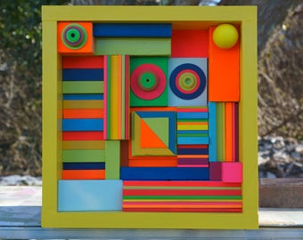 Bright Colors - Modern Wall Sculpture - FREE SHIPPING - Wood Art - Abstract Wall Art - Geometric Art - Reclaimed Wood - Wood Block Art