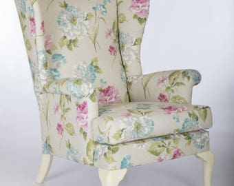 Wing back Accent Armchair sofa chair furniture patchwork