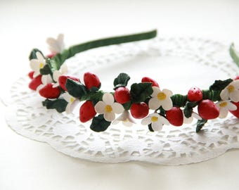 "Handmade hair band made of polymer clay with berries ""Strawberry"""