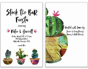 Stock the Bar Invitation, Fiesta Invite, Cinco de Mayo Invite, Cactus Invite, Shower Invitation, Mexican Invitation, Engagement Party