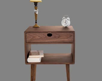 Bedside table Walnut/oak solid 1G1C Mind Century