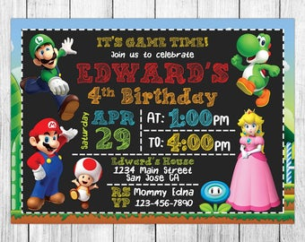 Super Mario Invitation, Super Mario Birthday, Super Mario Invites, Super Mario Party, Super Mario Printable, Super Mario Evite, Custom