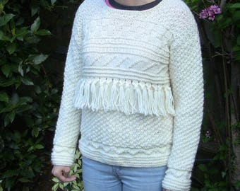 FREE P&P TO UK *** Hand Knitted, Aran Cable Jumper, 100% Pure Wool, Cable Jumper, Aran Jumper, Aran Sweater, Cable Sweater, handmade