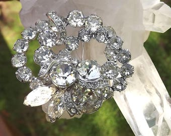 Vintage EISENBERG Pin Brilliant Austrian Crystal Stones Wedding