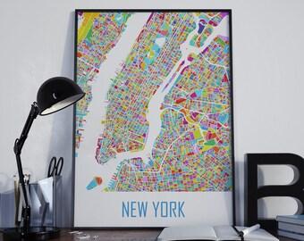 New York Watercolor New York City Map New York Map Manhattan Map City Map New York Travel Map New York Street Map New York Map Poster NYC