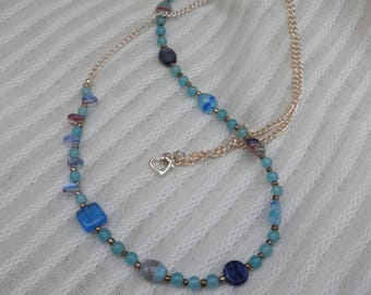 Blue Beads Silver Tone Long Necklace