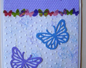 "Handmade card expressing ""Thanks"" on embosses acrylic painted background and highlighted with butterflies // thank you card // thanks //"