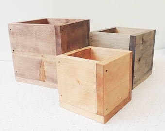 Wooden storage boxes, set of planters, three boxes, desk storage, wooden planters, wooden cube, wood boxes, pen pots, pen holders, desk tidy