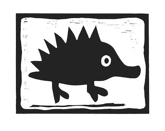 LINOCUT PRINT #Mad hedgehog# - Handmade print, Linocut print, linoleum print, 8x11 inc, white paper 94 lbs (200g/m2), acid-free archival