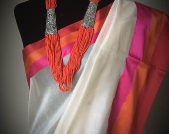 Cotton Handloom Silk Saree in off-white with tri-color border