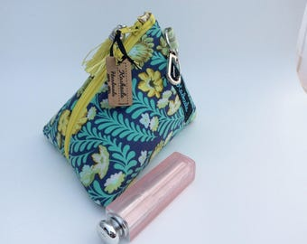 Coin Purse, Small Make up Bag, Makeup bag, Cosmetic Bag, Small Triangle Shape with Attachment Clip, Gift, Australian Made. Tula Pink Fabric.