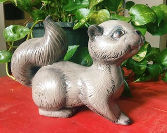 Vintage Handmade Ceramic Squirrel Statue, Kitschy Decor