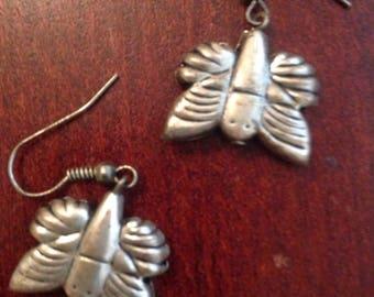 Butterfly Earrings SILVER Clip on