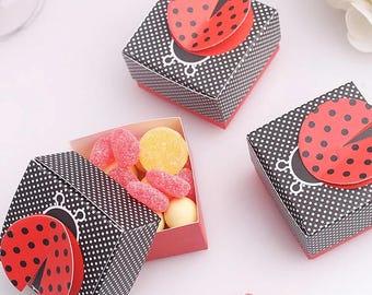 2 x Birthday party favour/ladybug 3D gift box/wedding favour/bridal shower/baby birthday gift box