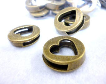 Solid Flat Large Hole Bronze Beads/ BEADS/ Large Hole Heart of 18x5 mm hole 15x3 mm pack 15 pcs