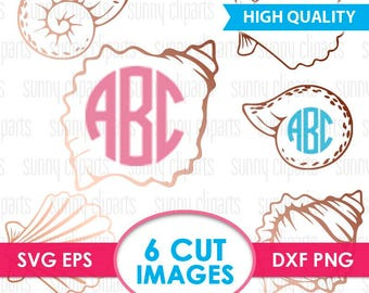 Mermaid Shell Svg, Sea Shell Svg, Sea Shell Monogram, Shell Svg Files, Conch Shell, Vector Graphics, Svg File For Cricut, Silhouette Cameo