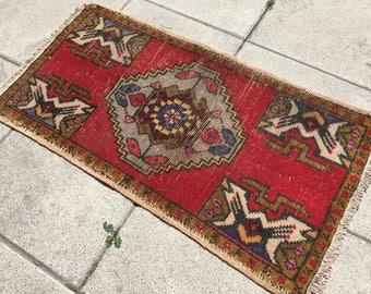 Yoga Rug,Turkish Handmade, Oushak Small ,rug Bohemion Turkish Small  Primivite Red Color