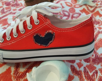 Sneakers red with knitted heart size 37