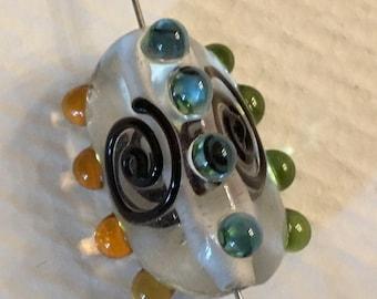 Artisan lampwork hand made fused glass large bead (1)