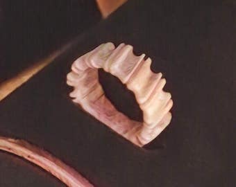 Carved Elk Antler Ring