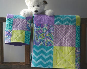 Purple baby quilt set with minky backing -Lavender - Teal - Lime - Modern - Homemade
