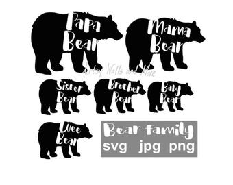 Bear family svg Mama Bear svg Papa Bear svg Wee Baby Sister Brother Bear svg png jpg diy mommy and me svg, Gender reveal, Baby reveal shirts