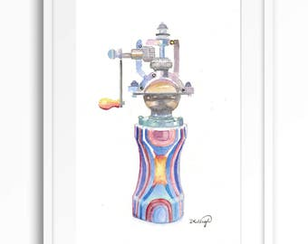 Watercolor pepper mill kitchen decor