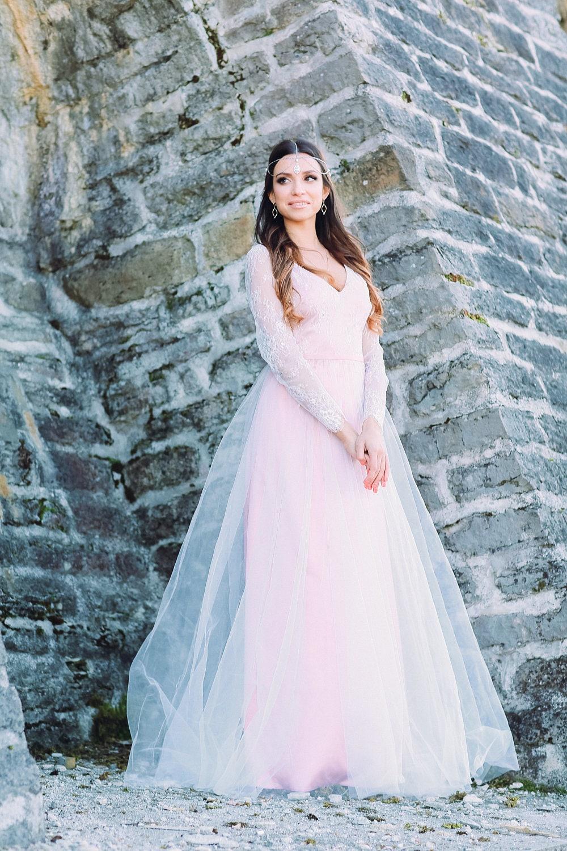 Vestido de Novia de rosa del polvo / boho playa vestido de