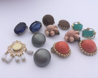 Costume Jewelry Vintage Earrings Lot Craft Supplies Art Supplies