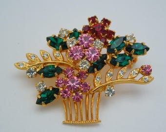 Brooch vintage flower basket