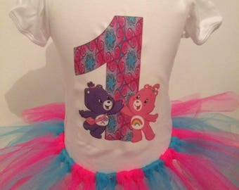 Care Bears Custom Shirt and Tutu Birthday Outfit, Care Bears Girls Outfit,Personalised Babygrow,Custom T-Shirt,Any Age,Any Name.