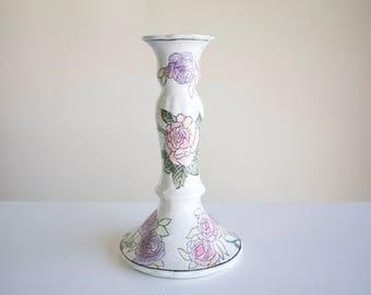 Vintage Hand Painted Floral Ceramic Candle Holder