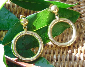 SALE 20% OFF Lovely chunky 24 karat gold plated Audrey retro hoop earrings with stud ear fitting for women. Gift for her