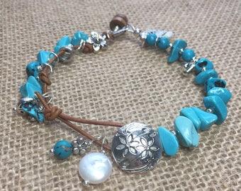 Genuine turquoise greek leather pearl silver long charm summer bracelet