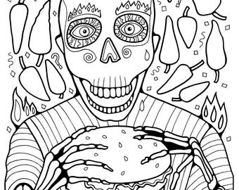 """Coloring Page PDF Instant Digital Download """"Day Of The Dead Burger"""""""