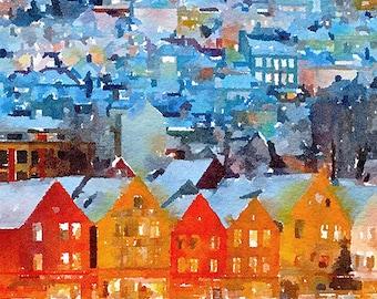 Bergen Norway Original Watercolour Painting Q149