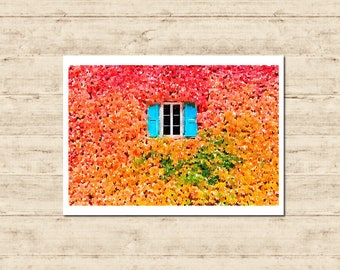 Leaves Window Watercolour Painting Postcard Poster Art Print Q19