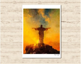 Jesus Statue Brazil Watercolour Painting Postcard Poster Art Print Q300