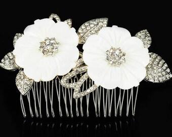 Flower crystal bridal hair comb