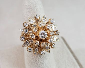 Vintage 14k yellow gold starburst diamond ring