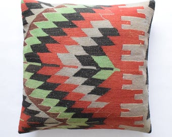 "Kilim rug pillow cover 26""x26"" (65x65cm) 026"