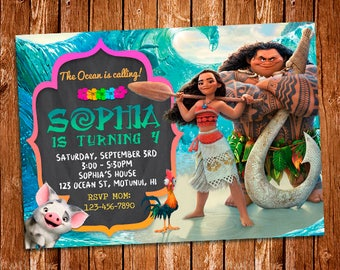 Moana Invitation, Moana Birthday Invitation Printable, Moana Birthday Card, Moana Printables, Moana Invite, Moana Birthday Invitation, Moana