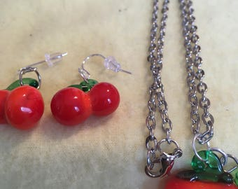 Very Cherry Necklace and Earrings