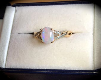 Coober Pedy Opal & Alexandrite Ring 9ct Yellow Gold Size N 1/2  'CERTIFIED' Beautiful!