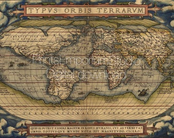 Old Ortelius world map 1570s Typus Orbis Terrarum Vintage map Printable digital download Art retro map Instant download Printable antique ma