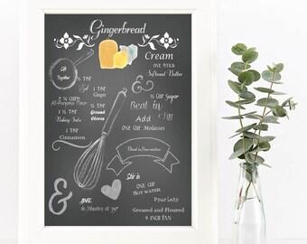 Chalkboard Recipe Art Print-Printable-Gingerbread Recipe-Kitchen Art-Instant Download